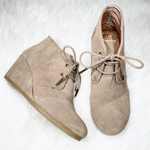 Toms Suede Lace Up Wedge Ankle Booties